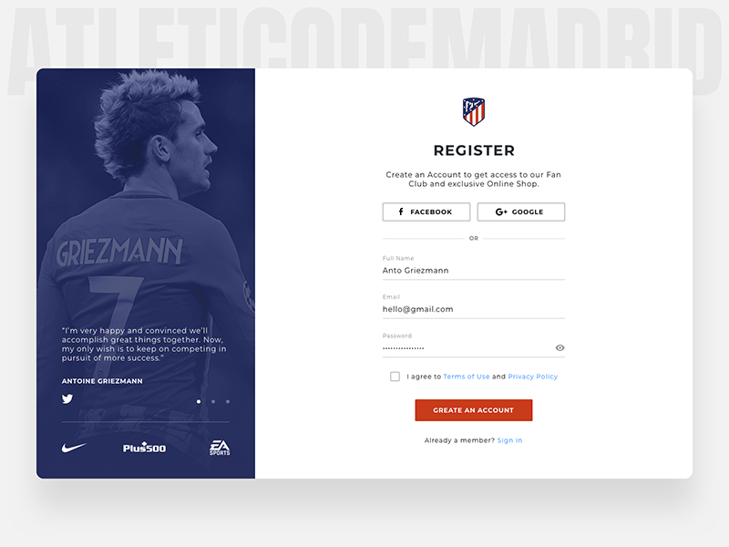 Sign Up Page (Atletico Madrid) redesign light account soccer football dailyui ui ux flat page register sign up