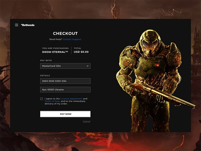 Credit Card Checkout (Bethesda) page store dark redesign ux ui flat doom gaming credit card checkout dailyui