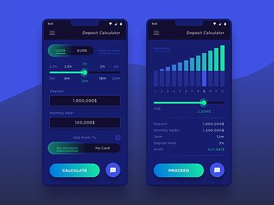 Deposit Calculator (Bank App) dailyui ux ui flat application app mobile bank graph calculator account deposit