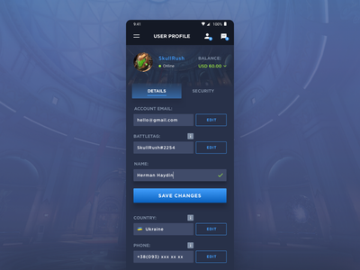 User Profile (Blizzard App) dailyui ux ui mobile flat dashboard account application app gaming blizzard user profile