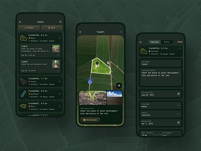 Scouting Mobile App / Tasks map tasks scouting mobile app visualization vegetation ux design ux ui design ui product ios platform list flat design design data crops app agriculture