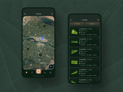 Scouting Mobile App / Fields satellite imagery visualization vegetation ux design ux ui design ui scouting product platform mobile app map list ios flat design design data crops app agriculture