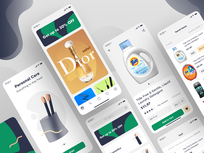 Cosmetics and Household Products App Screens application app ux design ux ui design ui toothbrush splash screen cart personal care mobile app design minimalsim ios ecommerce flat design household cosmetics clean design app screens mobile app