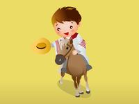 Dancer peruvian child in horse