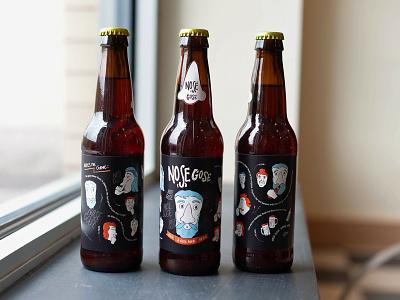 Nose Gose Beer Label beer product hand type branding beer label hand lettering package design packaging illustration