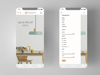 MAYNOOTH design furniture ui  ux ux ui ios mobile category app