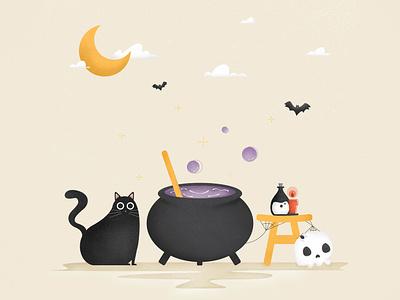 Happy Halloween! texture procreate drawing happy halloween skull spoopy spooky cat halloween illustration