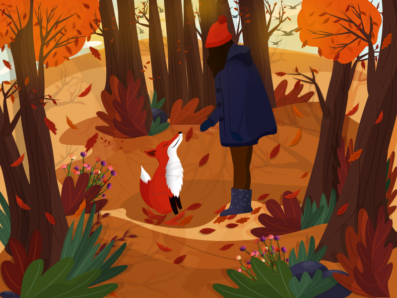 Stunning Autumn girl mood vector sophie-tsankashvili nature forest fall illustration autumn fox