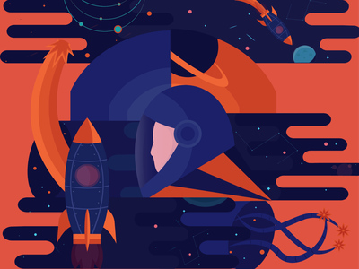 Abstract Cosmonaut universe stars spaceman space rocket  sophie tsankashvili planets illustration galaxy cosmos character abstract