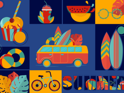 Summer watermelon ice-cream sun sea sophie tsankashvili travel journey sunglasses bicycle palm leaves flowers ball bus wallpaper illustrator vector colors trip summer