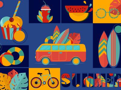 Summer watermelon ice-cream sun sea sophie tsankashvili travel journey sunglasses bicycle palm leaves flowers ball bus wallpaper illustrator vector colors trip summer