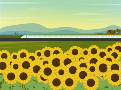 sunflower trees nature mood sophie tsnakashvili flowers illustration vector journey summer sun fields travel train sunflower