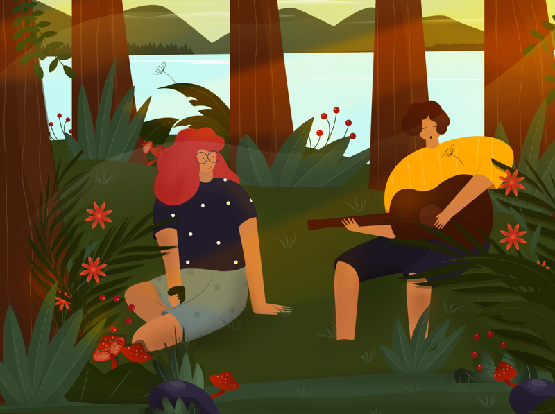 nice evening in the forest guitar playing sing fun cozy mood river lake trees nature summer camping plants flowers colors illustration vector evening characters forest