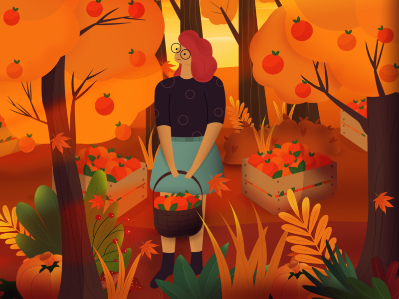 autumn girl sophie tsankashvili colors vector illustration pumpkins fruit fall mood plants nature autumn trees trees harvest girl autumn