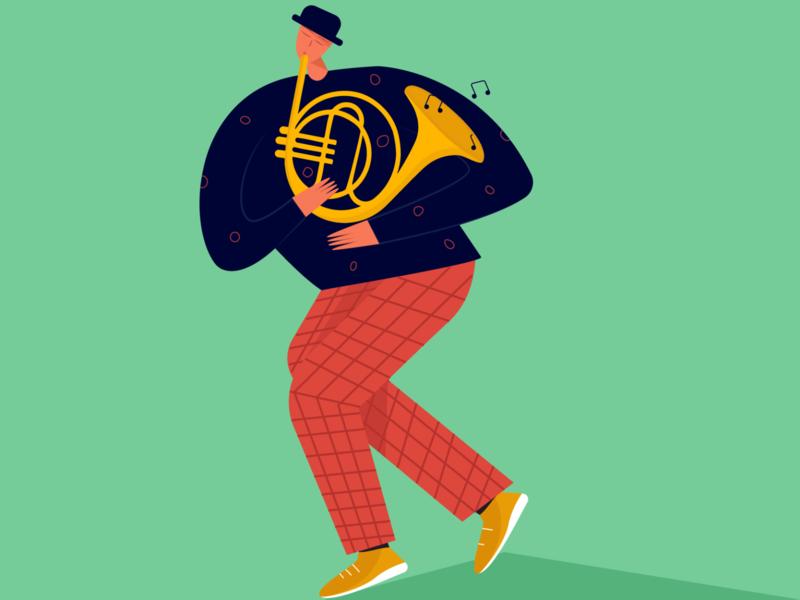 jazz man evening musician sophie tsankashvili music instruments jazz music colors abstract character design character illustration vector illustration vector