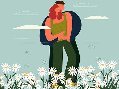 hug abstract style simple sophie tsankashvili daisy cute mood warm lovers character flowers field vector art vector illustration love hug