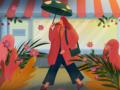 rain seasons calendar spring cozy illustration umbrella girl walking coffee sophie tsankashvili illustrator vector character summer flowers cafe street rain