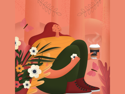 McDonald's coffee colorfull illustration texture vector happy forest style colors mood cozy characters flowers spring coffee