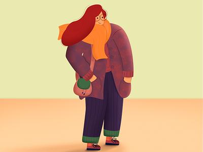 winter girl tbilisi sophie tsankashvili vector cozy texture illustrator illustration girl character winter