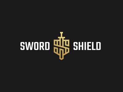 Sword & Shield simple icon branding medieval knight design minimalist symbol modern logo