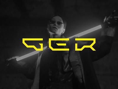GER cyberpunk futuristic tech lettermark alphabet monogram identity minimalist icon branding symbol modern logo