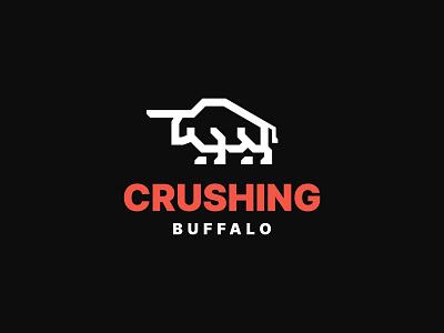 Crushing Buffalo bison bull animal minimalist icon branding symbol modern logo
