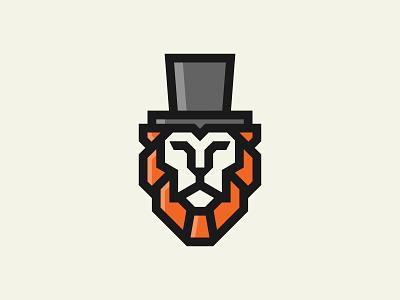 Lion with Hat mascot animal man beast simple minimalist icon branding symbol modern logo