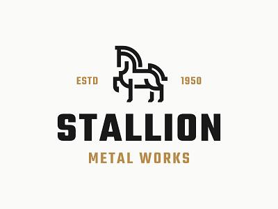 STALLION - Metal Works identity simple icon symbol animal minimalist branding horse modern logo