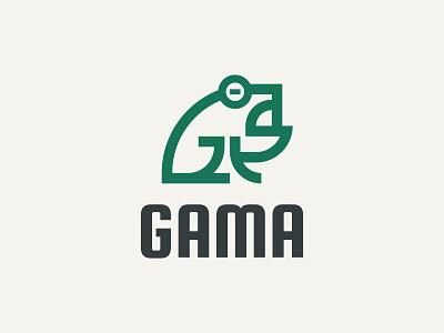 GAMA brand animal toad frog simple icon branding symbol modern logo