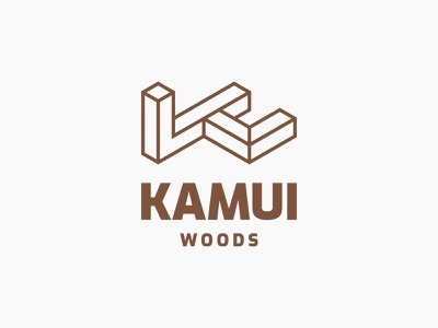 Kamui Woods lettermark alphabet minimalist monogram carpenter wooden symbol modern logo