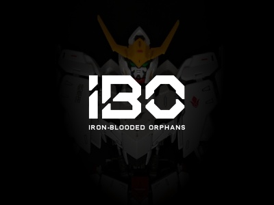 IBO - Iron-Blooded Orphans logotype lettermark modern gundam robot mecha simple minimalist icon branding symbol logo
