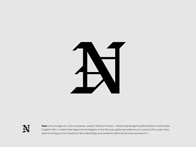 N gothic wordmark typography logotype lettermark monogram icon design minimalist symbol modern logo