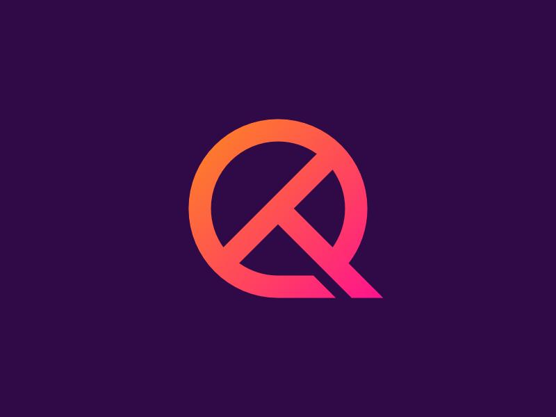 QT modern minimalist app symbol branding lettermark gradient icon logo monogram