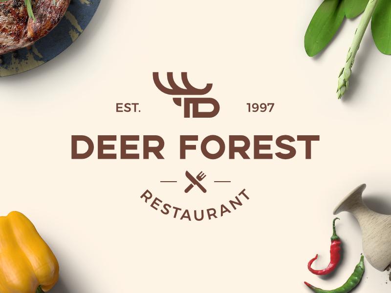 Deer Forest Restaurant icon deer logo identity minimalist restaurant modern branding symbol logo