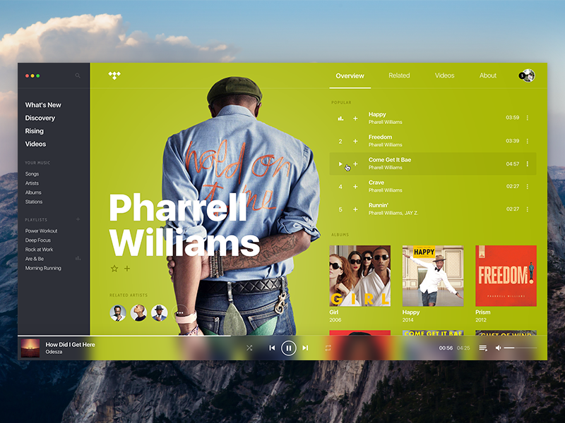 TIDAL • Concept, player, artist page. user interface user experience ux ui tidal spotify song player music mac os artist apple music