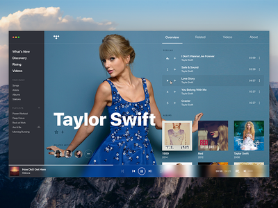 TIDAL • Concept, player, artist page. ux user interface user experience ui tidal spotify song player music mac os artist apple music