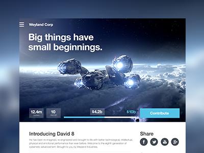 Weyland website crowd funding data layout type