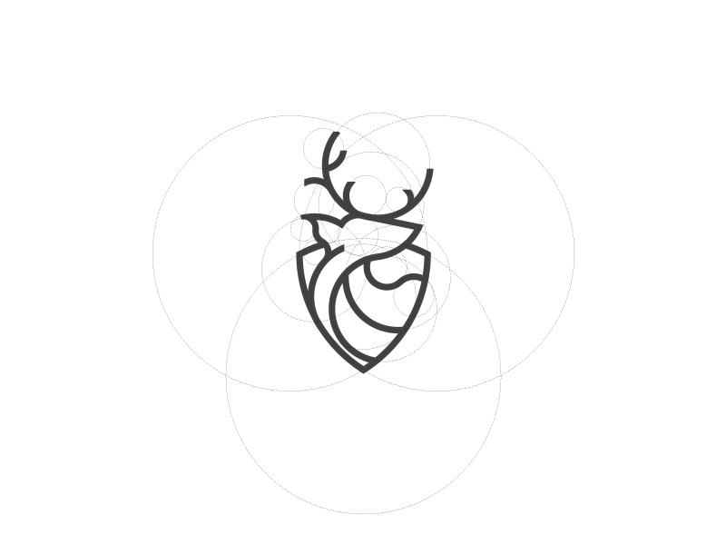 Deer shield line illustration animal vector grid design logo deer