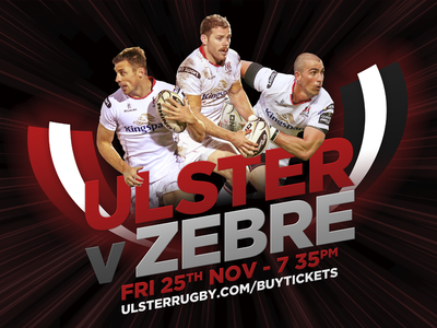 Rugby Promotional Creative ireland marketing sports warp photograph graphic promotional rugby zebre ulster