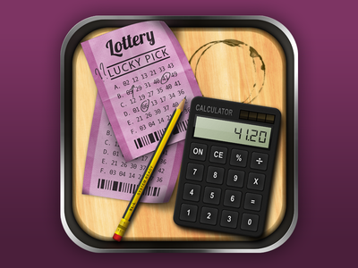 Lottery App Icon virtual apple phone realism pencil ticket calculator lottery ios icon app