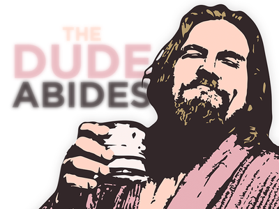 "The Big Lebowski ""The Dude Abides"" poster popart purple art poster quote film movie abides dude lebowski big"