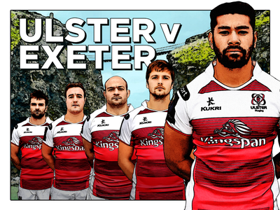 Ulster Rugby v Exeter Graphic style fifties advert advertising graphic marketing sports guinness.pro12 rugby exeter ulster