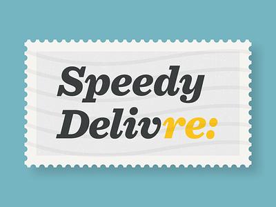 Speedy Delivre: illustration first shot hoefler sentinel stamp