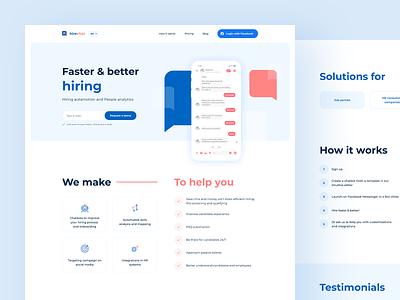 Hirechat website minimal icon webdesign web flat vector ux ui