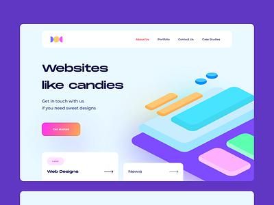 Candy agency minimal website illustration design webdesign web flat vector ux ui