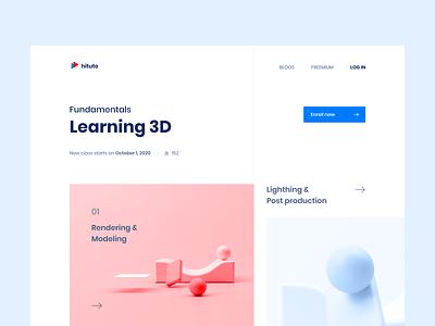 Learning 3D illustration website web 3d ux ui