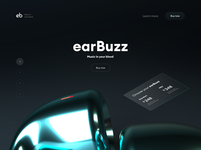 earBuzz typography cinema4d 3d webdesign web vector ux ui
