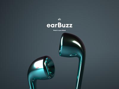 earBuzz - Product shot cinema4d 3d minimal branding webdesign web ux ui