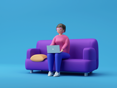 Working from couch 🛋️ cinema4d 3d illustration 3d art 3d