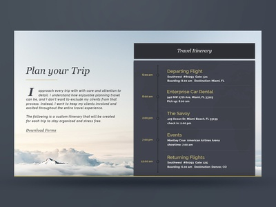 Travel Itinerary travel itinerary ux ui typography timeline widget design web zenman